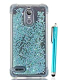 lg 3 bumper - LG Stylo 3 Glitter Case, Cattech Liquid Bling Sparkle Shiny Moving Quicksand - Slim Clear TPU Bumper Protective Non-slip Grip Shockproof Cover for LG Stylo 3/Stylo 3 Plus/Stylus 3 + Stylus(Light blue)