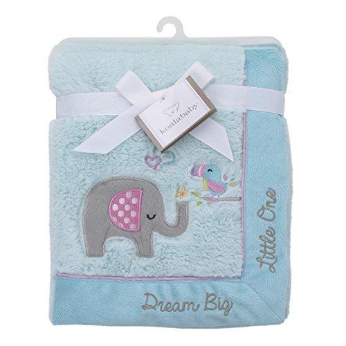 Koala Baby Super Soft Cuddle Plush Baby Blanket, Aqua Elephant