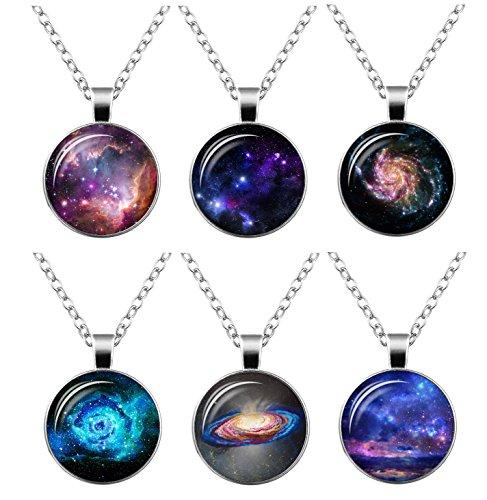 FIONUSUM 6 pieces Galaxy Pendant Necklace Chain Glass Universe Necklace Charm Set