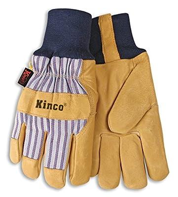 "Kinco 1927KW-S-1 Lined Grain Pigskin Glove, 10.8"" Height, 1"" Length, 5"" Width"