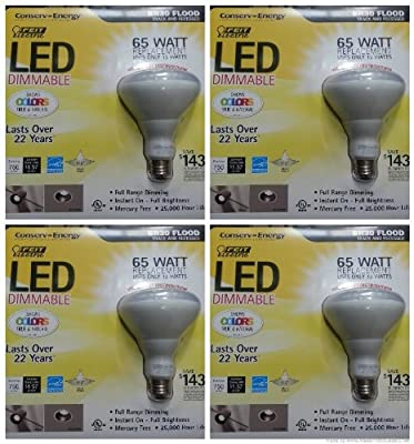 Feit Electric 65 Watt BR30 Dimmable Flood LED Light Bulbs- (4 Pack)