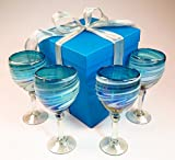 Hand blown wine glasses, turquoise white swirl with gift box, from Mexico, 14 oz