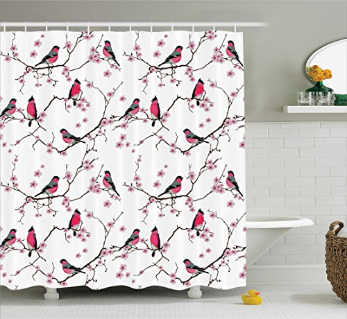 Ambesonne Asian Decor Collection, Bullfinches on the Sakura Branch Pattern Birds on Trees Tweeting Cherry Blooms Image, Polyester Fabric Bathroom Shower Curtain, 84 Inches Extra Long, Magenta Pink