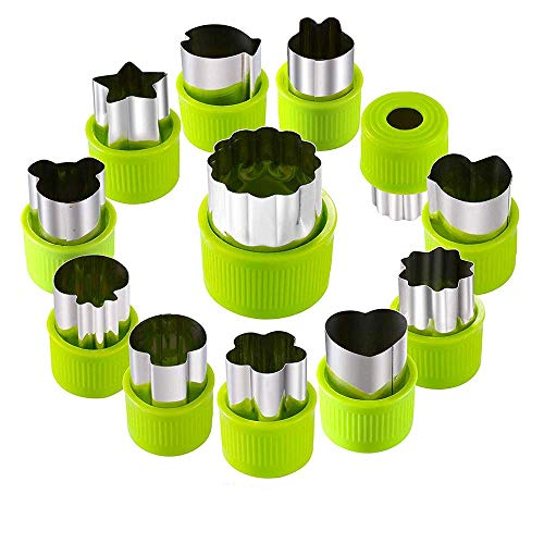 Vegetable Cutter Shape Sets, Mini Fruit Cutter Cookie Cutter Cake Pudding Cheese Presses, Flower Star Cartoon Animals Heart Stamp Molds, Decorative Food Cutter Tools Stainless Steel, 12 PCS (Green)