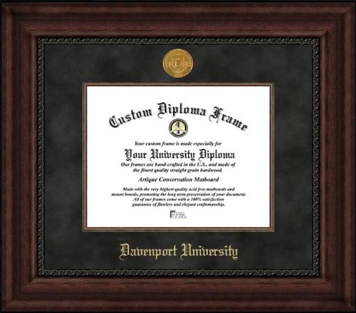 Davenport University Panthers - Gold Medallion - Suede Mat - Mahogany - Diploma Frame