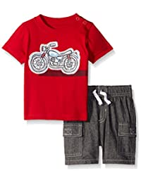 Kids Headquarters Baby Boys' Jersey Tee with Applique and Cargo Woven Shorts