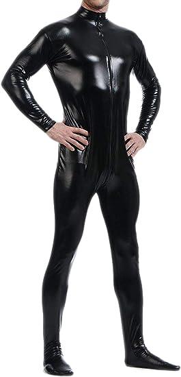 Fullbody Lycra Zentai spandex Unisex Catsuit Metallic Black S-XXL