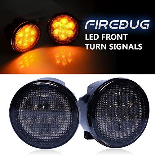 Firebug Jeep Turn Signal Lights with Amber Fender Flares Eyebrow Indicator Side Maker Parking Lights Smoke Lens, Amber Front LED Turn Signal Lights, Jeep Wrangler Turn Signal Lights, JK JKU 07-16