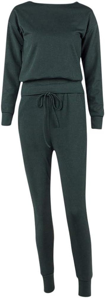 2 Piece Outfits for Women Solid Tracksuit Sweatshirt Pants Sport Lounge Suit Set