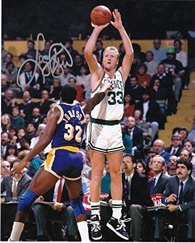 LARRY BIRD BOSTON CELTICS W/MAGIC JOHNSON ACTION SIGNED 8x10 - Autographed NBA ()