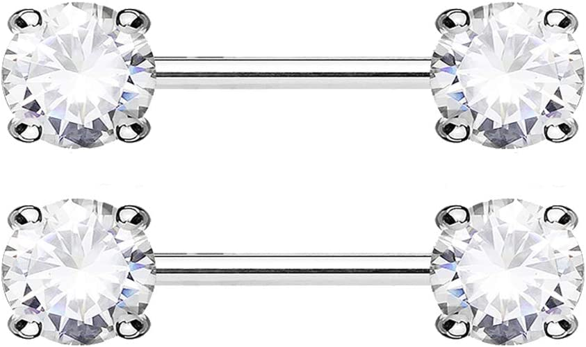 Nipple Bar with Double Front Facing Star Cubic Zirconia Prongs.