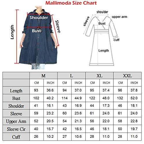 Mallimoda Women's Buttons Denim Shirt Blouse Plus Size Jeans Jacket
