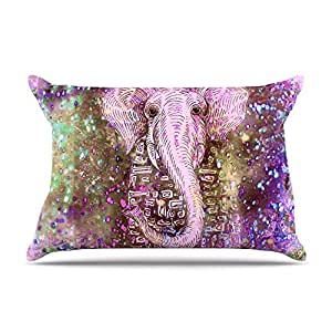 "Kess InHouse Marianna Tankelevich ""Pink Dust Magic"" Elephant Sparkle Fleece Pillow Case, 30 x 20"""
