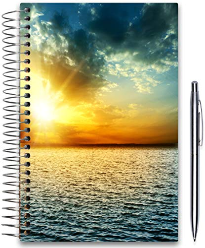 May 2019-2020 Planner 5x8 - Hardcover - Daily Weekly Monthly - Academic Planner Year - Tools4Wisdom Ocean w Blue Sky Cover