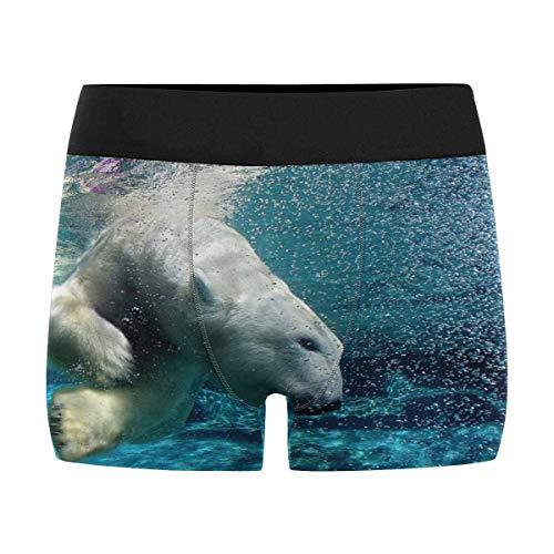 INTERESTPRINT Men's Polar Bear Diving Boxer Briefs Underwear M