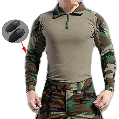 ATAIRSOFT Men BDU Shooting Combat Long Sleeve Camo Shirt with Elbow Pads for Army Airsoft Woodland Cmao(XL)