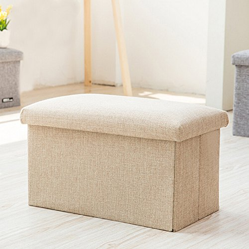 Inoutdoorkit FS-LN01 Linen Folding Organizer Storage Ottoman Bench Cube Foot Stool, Footrest Step Stool For Living Room, Bedroom, Office, Garden, Traveling, Fishing, Camping 16