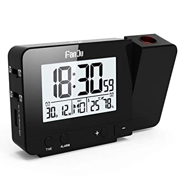 FanJu FJ3531B Digital Projection Clock with Temperature and Time Projection/USB Charger/Indoor Temperature and Humidity/Manual Time Adjustment/Calendar / Double Alarms with Snooze Function.