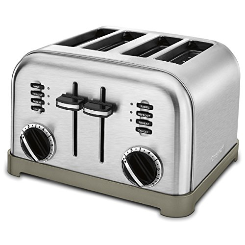 Modern stainless steel retro style toaster for 4 slices of bread.