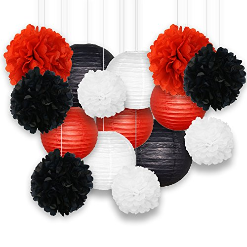 Just Artifacts Decorative Paper Party Pack (15pcs) Paper Lanterns and Pom Pom Balls - - Red Silver Black