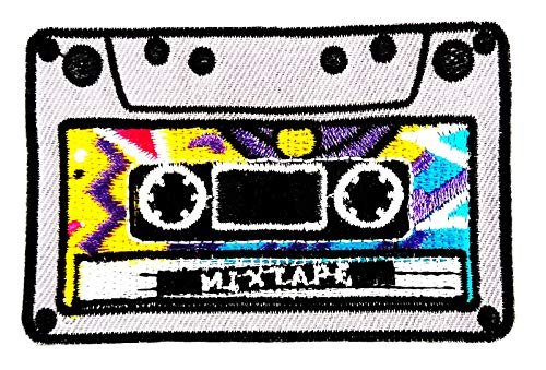 Cassette Tape Fantasy Cartoon Cassette Tape Music 3.25X2 in MEGADEE Patch Cartoon Kids Symbol DIY Iron on Patch Iron-On Designer Patch Used for Gifts Crafts Jeans Clothing Fabric (Cassette Tape 003) (Clothing Fabrics Designer)
