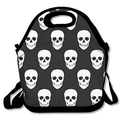 VDQ Halloween Holiday Skull Insulated Lunch Bag,Lunch Tote Reusable Picnic Bag Soft Thermal Cooler Tote Multi-Purpose Grocery Container with Adjustable Crossbody Strap, Zip Closure ()