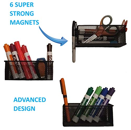 Magnetic Storage Basket - 3 pack - 6 Extra Strong Magnets on a Durable Black Steel Frame with Wire Mesh - Fun Organizing Bin for Home, School, Office or Shop - By Legendary Solutions