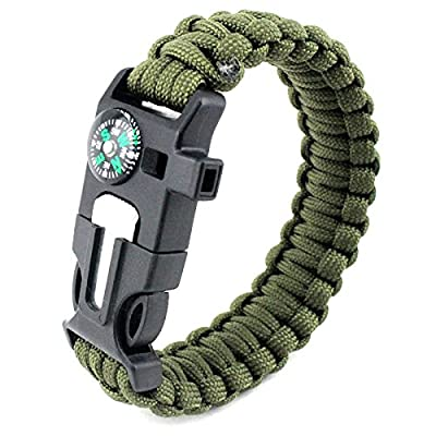 Paracord Survival Bracelet. Hiking Multi Tool, Camp Fire Starter, Emergency Whistle, Compass for Hiking, Camp Fire Starter 5-in1 Set.