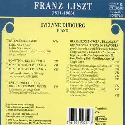 Liszt: Ballade No. 2; 3 Sonetti del Petrarca; La Lugubre Gonda II ...