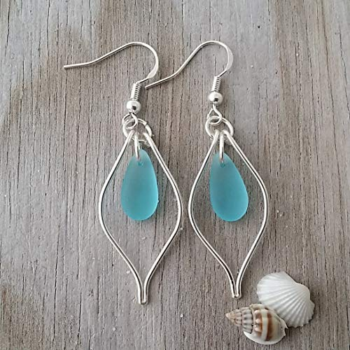 Handmade Wire Rings - Handmade in Hawaii, wire loop turquoise bay blue sea glass earrings, sterling silver hooks, FREE gift wrap, FREE gift message, FREE shipping