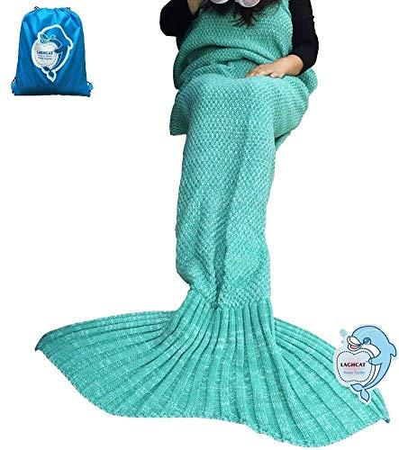 LAGHCAT Mermaid Tail Blanket Crochet Mermaid Blanket for Adult, Soft All Seasons Sleeping Blankets, Classic Pattern - 71x35.5 Inch, Green