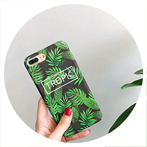 Hard PC Marble Case for iPhone Xs Max XR X 10 Fashion Green Leaves Full Cover Matte Phone Cases for iPhone 7 7plus 6s 6 8 Plus,6,for iPhone X ()