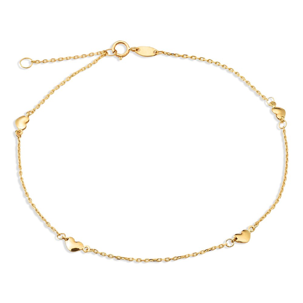 LoveBling 10K Yellow Gold .50mm Diamond Cut Rolo Chain with 4 Heart pendants Anklet Adjustable 9'' to 10'' (#16)