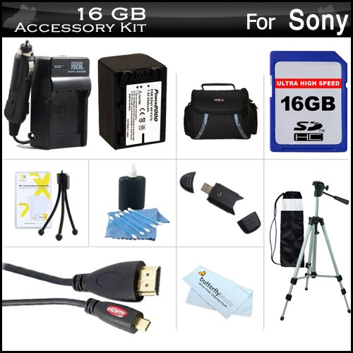 16GB Accessory Kit For Sony HDR-CX220, HDR-CX220/B, HDR-CX220/S,FDR-AX100, HDR-CX900 HD Camcorder Includes 16GB High Speed SD Memory Card + Replacement (2300Mah) NP-FV70 Battery + Ac/DC Charger + Deluxe Case + 50' Tripod + Micro HDMI Cable + More Butterfly