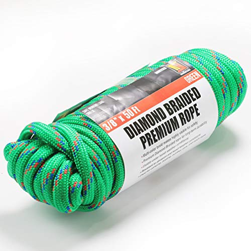 Wellmax Diamond Braid Nylon Rope - Extra Thick All Purpose Braided Flag Line Utility Line with Shock Absorption - UV Resistant, High Strength & Weather Resistant - 3/8