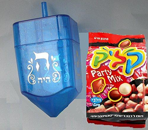 Chanukka Kreisel - 1 Kreisel aus Plastik und 1 Paket von Koscher Schokolade aus Israel, Klik