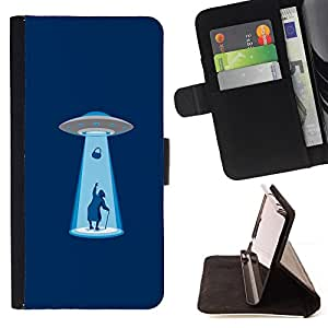 KingStore / Leather Etui en cuir / Sony Xperia Z3 Compact / Alien Abduction - Funny