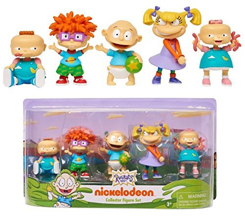 Gang Figure Set - NEW! Rugrats - Nick 90's 3 inch COLLECTOR 5 FIGURE SET (Phil, Chuckie,Tommy, Angelica, Lil) - This Collector Figure Set Features the Whole Gang from Nickelodeon's Hit Show, Rugrats!
