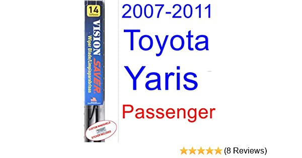 Amazon.com: 2007-2011 Toyota Yaris Wiper Blade (Passenger) (Saver Automotive Products-Vision Saver) (2008,2009,2010): Automotive