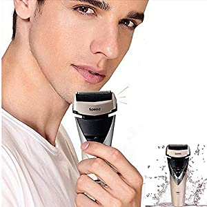 100-240V Professional 3D Floating Cordless Rechargeable Razor Electric Shaver Triple Blade Shaving Machine Waterproof Mustache Beard Razor Trimmer Personal Face Care for Men Father Husband(Golden)