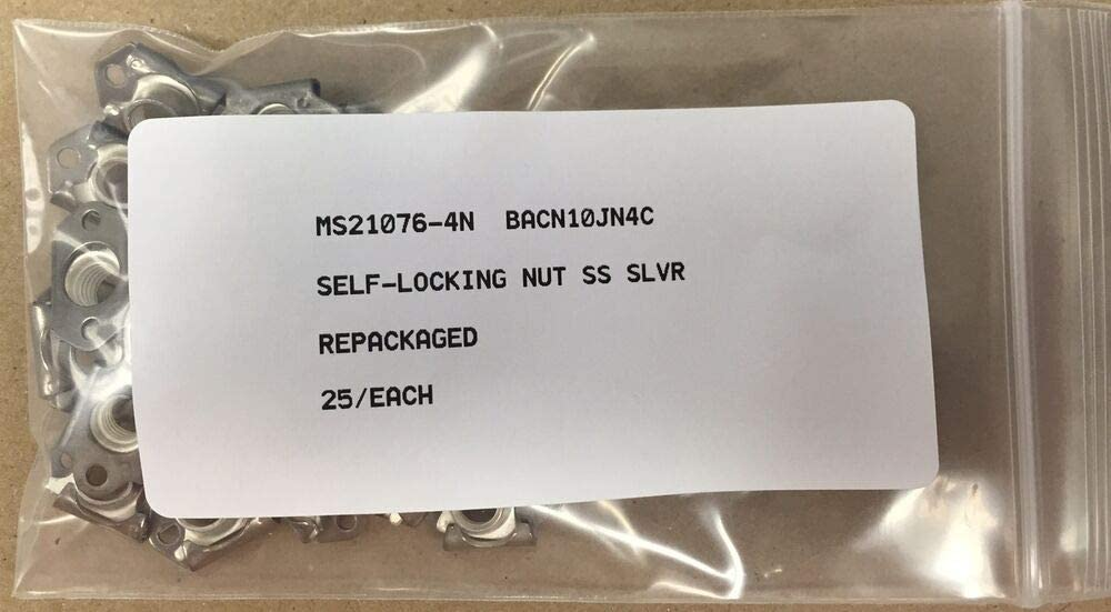 25-EA SELF-LOCKING STAINLESS PLATE NUT,AIRCRAFT SILVER PLATED 1//4-28 MS21076-4N