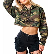 Lurdarin Womens Casual Camouflage Long Sleeve Crop Top Hoodie