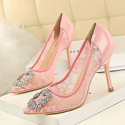 Xue Qiqi Shop High Heels Damen mesh Schuhe mit hohen Absätzen licht Düsenspitze mesh Damen Lace ausgesetzt Binden einzelne Schuhe 0f9a2d