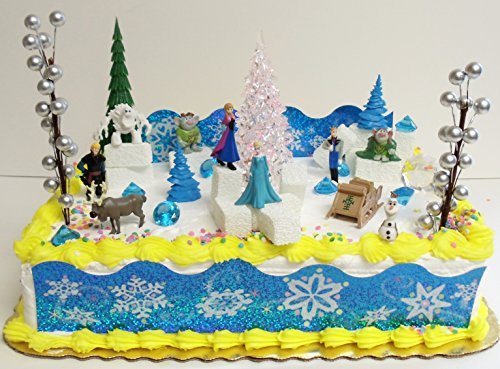 FROZEN-35-Piece-Frozen-Cake-Topper-Set-Featuring-2-Winter-Wonderland-Figures-of-Elsa-Anna-Sven-Hans-Kristoff-Olaf-Marshmallow-Snow-Monster-Bulda-Troll-King-Troll-and-Other-Winter-Themed-Accessories-Ca