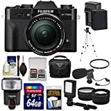 Fujifilm X-T20 Wi-Fi Digital Camera & 18-55mm XF Lens (Black) with 64GB Card + Battery + Case + Flash + Tripod + LED + Microphone + Tele/Wide Lens Kit