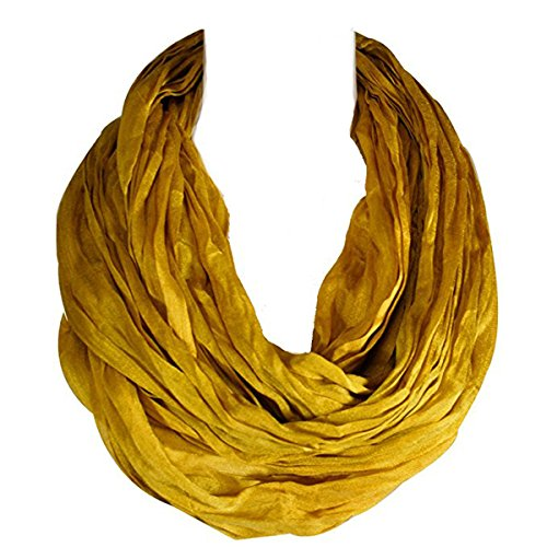 (Wrapables Lightweight Silky Soft Infinity Loop Scarf, Gold Yellow)