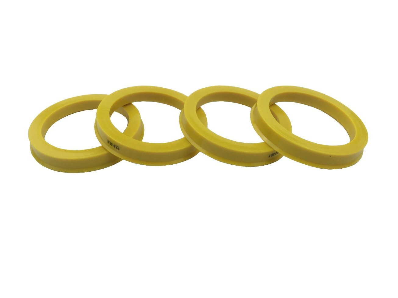 4 Pieces Yellow Poly Carbon Hub Rings 72.6mm OD to 56.6mm ID Hub Centric Rings