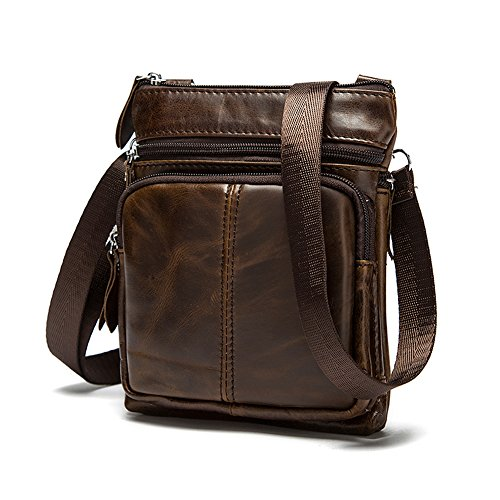 Koolertron Men's Synthetic Leather brifecase Cowhide Vintage Multipurpose small Satchel Shoulder Messenger Bags (Coffee)