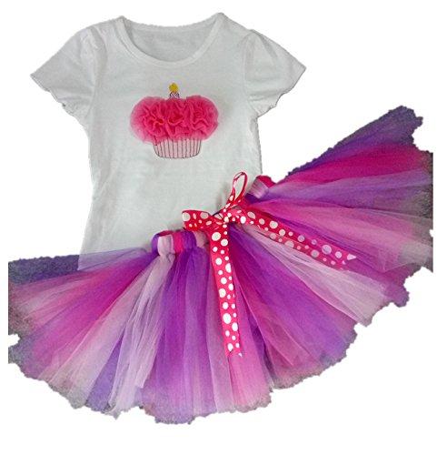 AISHIONY Kid Girl 2nd Birthday Tutu Princess Dress Shirt Rainbow Skirt Outfit P3
