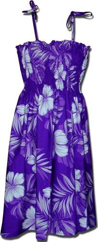 Hawaiian Tube Dress Hibiscus Blossom Purple 3323589